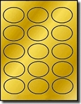 300 Oval Glossy Gold Metallic Foil Laser ONLY Labels, 2.5 x 1.75, 15 Labels per Sheet, 20 Sheets