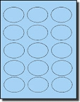 1,500 Oval Pastel Blue Labels, 2.5 x 1.75 inches 15 Labels per Sheet, 100 Sheets