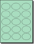1,500 Oval Pastel Green Labels, 2.5 x 1.75 inches, 15 Labels per Sheet, 100 Sheets