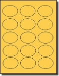1,500 Oval Pastel Orange Labels, 2.5 x 1.75 inches, 15 Labels per Sheet, 100 Sheets