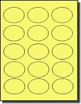 1,500 Oval Pastel Yellow Labels, 2.5 x 1.75 inches, 15 Labels per Sheet, 100 Sheets