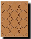 240 Brown Kraft Labels, 2.5 Diameter, Round, 20 Sheets use Avery® 5193, 5293 Template
