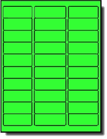 3,000 Label Outfitters® Neon Green 2-5/8 x 1 Labels, 100 Sheets use Avery®  5160, Compulabel® 311005 Template Laser Printers Only