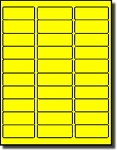 600 Fluorescent Neon Yellow Laser Only Labels, 1 x 2.625, Laser Only, use Avery® 5160 Template 20 Sheets