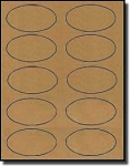 200 Oval Labels, 3-1/4 x 2, 10 per Sheet Brown Kraft, 20 Sheets Laser and Inkjet Printable
