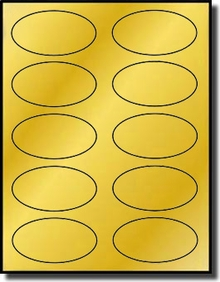 photo regarding Gold Printable Labels titled 200 Shiny Steel Gold Foil Oval Printable Laser Simply Labels, 3.25 x 2, 10 for each Sheet, 20 Sheets