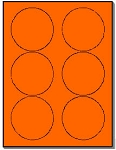 120 Round Neon Labels 3.33 inch Fluorescent Orange Stickers, 6 Labels per Sheet, 20 Sheets use Avery® 5295 Template
