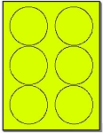120 Round Neon Labels 3.33 inch Fluorescent Yellow Stickers, 6 Labels per Sheet, 20 Sheets use Avery® 5295 Template