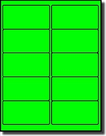 1 000 Label Outfitters Fluorescent Neon Green Laser Only 4 X 2 Labels Use Avery 5163 Compulabel 312142 Template 100 Sheets