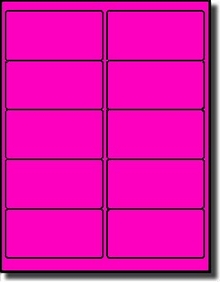 1,000 Label Outfitters® Fluorescent Neon Pink or Magenta LASER ONLY 4 x 2  Labels use Avery® 5163, Compulabel® 312164 Template, 100 Sheets
