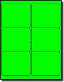 120 Fluorescent Neon Green Laser Only Labels, 4 x 3-1/3, 6 Labels per  Sheet, 20 Sheets use Avery® 5164, Uline S-3848-G Template