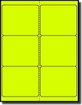 120 Fluorescent Neon Yellow Laser Only Labels, 4 x 3-1/3, 20 Sheets with 6 Labels per Sheet, use Compulabel® 312401 Avery® 5164 Template