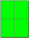 80 Fluorescent Neon Green Laser ONLY Labels 4.25 x 5.50, 20 Sheets Quarter Sheet, Quarter Page