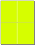 80 Fluorescent Neon Yellow Laser Only Labels, Quarter Sheet 4.25 x 5.50 - 20 Sheets