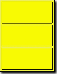 300 Large Fluorescent Yellow Labels, 8 x 3-1/3, 3 Labels per Sheet, 100 Sheets Laser Printers Only