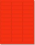 3,000 Neon Fluorescent Red Labels, 2-5/8 x 1, Laser Printers Only, 30 Labels per Sheet, 100 Sheets use Compulabel® 311106, Avery® 5160 Template