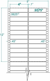 Compulabel® 120205 Two Across Pin Feed Dot Matrix Label 4 x 15/16, 10M Labels