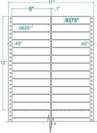Compulabel® 120306 Two Across, White, Pin Feed Labels 5 x 15/16, 10M Labels per Case Dot Matrix