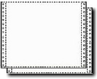 1,600 Sets TWO Part Blank, White Continuous Form, Carbonless Pinfeed Paper, 15-15 # Standard Weight 12 x 8.5 W/ Perforated Edges for Dot Matrix and other Pin Feed Printers
