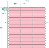 Compulabel® 130656 Pastel Pink, 3 Across Continuous Pinfeed Labels, 3-1/2 x 15/16, 15,000 Labels per Box