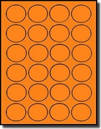 2,400 Fluorescent Neon Orange High Visibility Round Labels, 1-1/2 inch Diameter, 24 Labels per Sheet, 100 Sheets