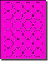 480 Fluorescent Neon Pink Round Labels, 1-1/2 inch Diameter, 24 Labels per Sheet, 20 Sheets