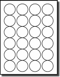 2,400 Round 1-5/8 Diameter Labels for Laser and Inkjet, 100 Sheets, Matte White <font color=000000>Removable Adhesive</font color> use Avery® 5293 Template