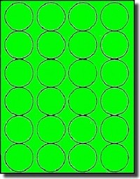 480 Fluorescent Neon Green Laser Printable Labels, 1-5/8 inch Diameter Round, 20 Sheets use Avery® 5293 Template
