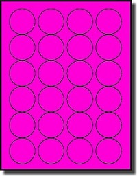 2,400 Fluorescent Pink Laser Printable Labels 1-5/8 inch Diameter Round, 24 per Sheet, 100 Sheets use Avery® 5293 Template