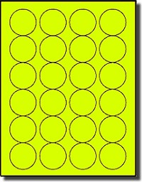 2,400 Fluorescent Yellow Labels, 1-5/8 Round, 24 Labels per Sheet,100 Sheets use Avery® 5293 Template