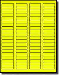 1 600 fluorescent neon yellow labels 1 75 x 0 5 20 sheets with 80
