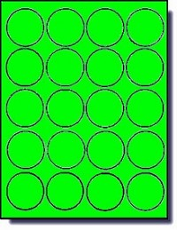 2,000 Round Fluorescent Neon Green Labels, 2 inch Diameter, 100 Sheets with 20 Labels per Sheet, Laser Printers Only