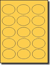 1,500 Oval Pastel Orange Labels, 2.5 x 1.75 inches, 15 Labels per Sheet, 100 Sheets <Font Color=Blue> Limited Quantity Closeout Sale!</font color>