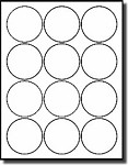1,200 Round Labels, 2-1/2 inch Diameter White Matte, Laser and Inkjet Printable Stickers use Avery® 5294, Compulabel® 310656 Template 100 Sheets