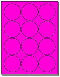 240 Round 2.5 inch Fluorescent Neon Hot Pink Circles, 12 Labels per Sheet, 20 Sheets use Avery® 5294 Template