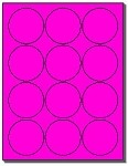 1 200 Labels 2 Inch Circle Or Round Fluorescent Pink Stickers 12