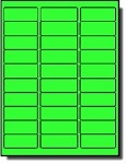 600 Fluorescent Neon Green <font color=black>Laser Only</font color> Labels, 2-5/8 x 1, 20 Sheets with 30 Labels per Sheet, use Avery® 5160 Template