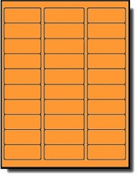 600 Fluorescent Orange Labels 2-5/8 x 1, Laser Printers Only, 20 Sheets with 30 Labels per Sheet, use Avery® 5160 Template