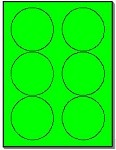 600 Round Neon Labels 3.33 inch Fluorescent Green Stickers, 6 Labels per Sheet, 100 Sheets use Avery® 5295 Template