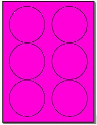 120 Round Neon Labels 3.33 inch Fluorescent Pink Stickers, 6 Labels per Sheet, 20 Sheets use Avery® 5295 Template