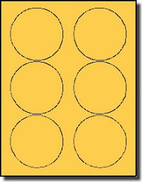 600 Pastel Orange 3.33 inch Diameter Labels use Avery® 5295, 5195 template, 100 Sheets
