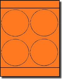 "Large Round Laser Neon Orange 4"" Labels by Label Outfitters® - 4 Labels Per Sheet - 100 Sheets"