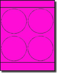 "Large Round Laser Neon Pink 4"" Labels by Label Outfitters® - 4 Labels Per Sheet - 100 Sheets"
