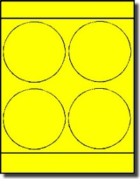 "Large Round Laser Neon Yellow 4"" Labels by Label Outfitters® - 4 Labels Per Sheet - 100 Sheets"
