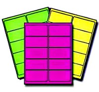 150 Fluorescent Neon Labels,4 x 2, Laser Printers Only, 5 Sheets, Avery® 5978 Configuration, 50 Labels each of Neon Green, Neon Yellow and Neon Magenta