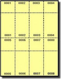 400 numbered yellow laser and inkjet printer raffle or event tickets
