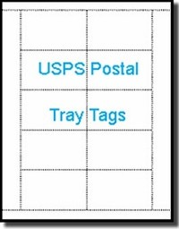 2,500 Laser or Inkjet Printable White USPS Tray Tags, 67# Bristol,  250 Sheets