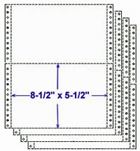 "9-1/2"" x 5-1/2"" Continuous 4 Part Computer Paper, 1,600 Sets per Carton, All Parts White"
