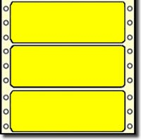 Compulabel® 161403 - 3-1/2 x 15/16 Fluorescent Neon Yellow Continuous Form Pin Feed Labels, 5,000 Labels per Box