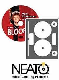 100 Neato® CLP-192355 Full Coverage PhotoMatte CD/DVD Labels for Inkjet and Most Laser Printers - 50 Sheets